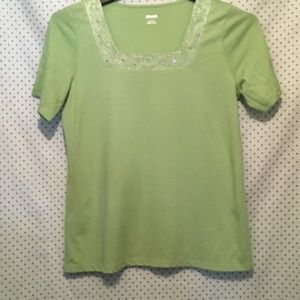 Alia Green Embellished Square Neck Cotton Blouse
